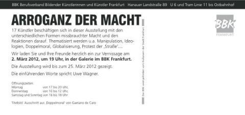 Berufsverband bildender Künstler, Arroganz der Macht, Künstler Frankfurt